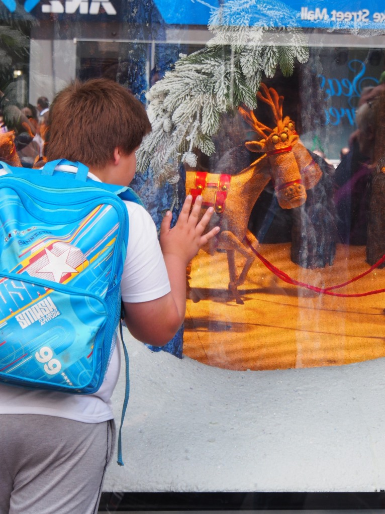 A boy admires the Myer Christmas windows in Bourke Street, Melbourne. Photo: Marleena Forward