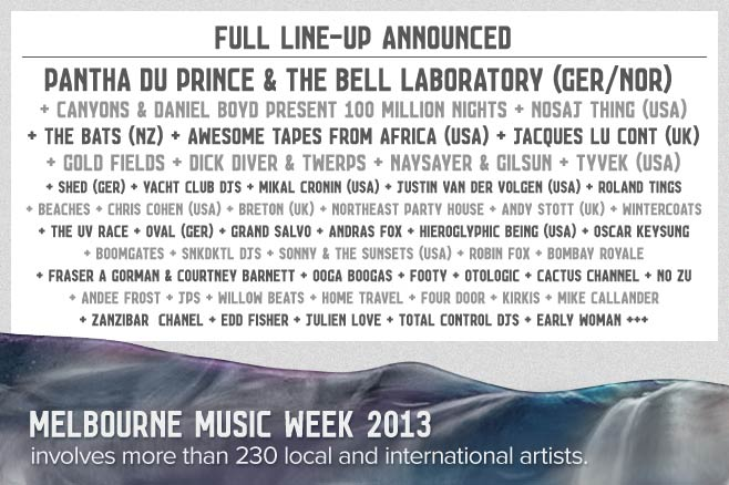 Melbourne Music Week 2013 line-up