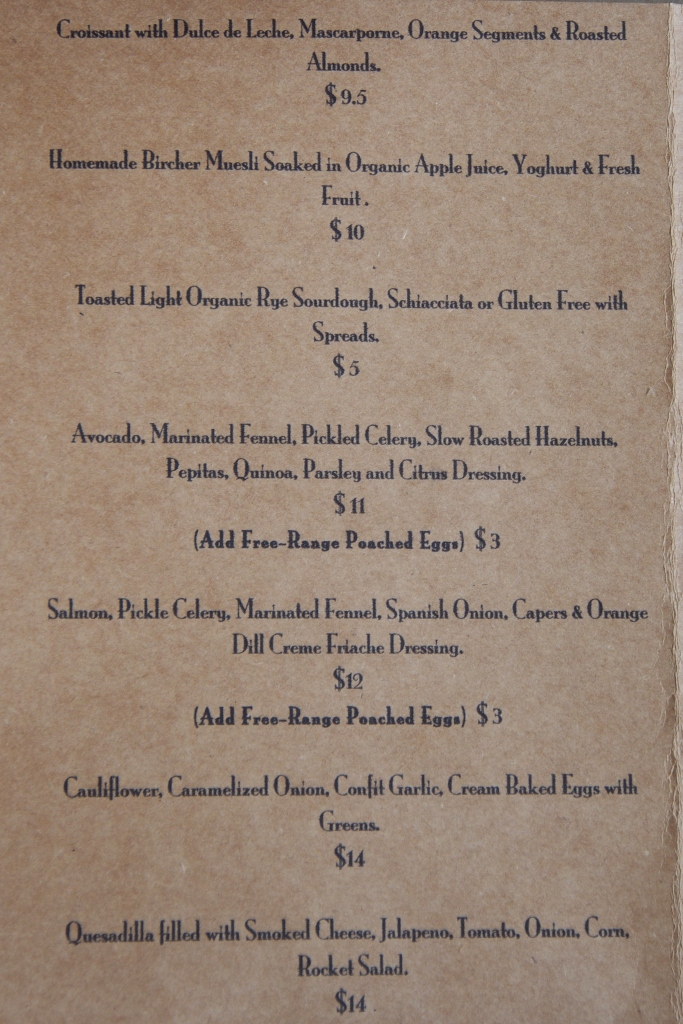Acustico menu_The Melbourne Local