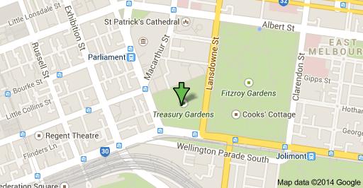 Treasury Gardens map